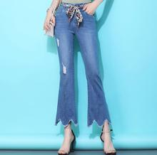 Plus Size Flare Jeans For Women 2020 OL Tassel High Waist Lace UP Slim Denim Pants Ankle Length Femme Trousers Ripped Jeans