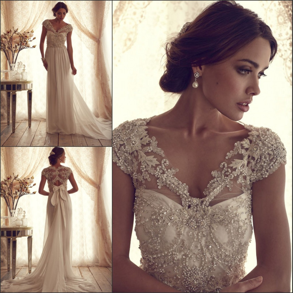 Vintage Wedding Dress With Pearls Appliques Elegant Beach Bride Dresses 2019 Free Shipping Custom Robe De Mariage CH2278