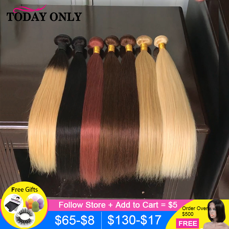 TODAY ONLY Malaysian Straight Hair Bundles 1/3/4 Bundles #1B/2/4/27/33/613 Remy Hair Extensions Human Hair Color Weave Bundles
