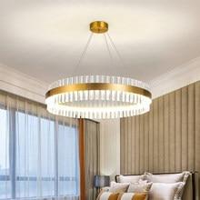 Lustres de cristal moderna led lustre redondo luz pingente para sala estar lustre teto da sala jantar luminárias casa