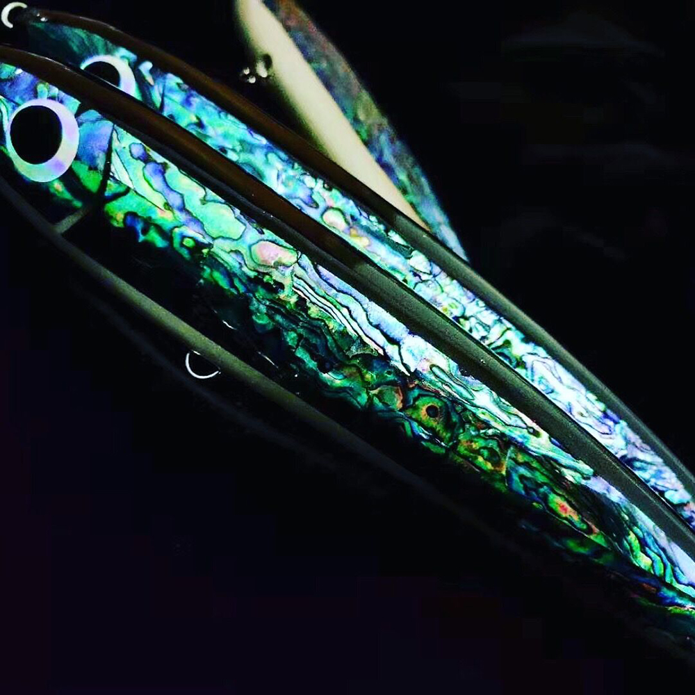 140g Abalone Shell Stick Baits VMC Treble Hooks Topwater Wooden GT Tuna Trolling Lure Pencil Boat Artificial Bait Fishing Tackle