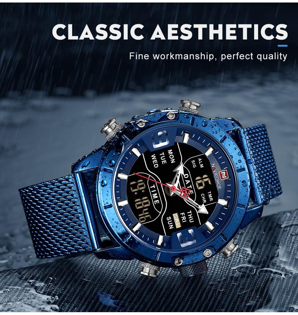 Men Watch Top Luxury Brand Man Military Sport Quartz Wrist Watches Stainless Steel LED Digital