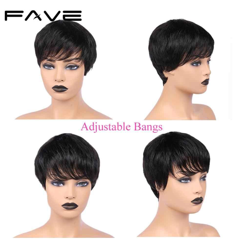 FAVE Pixie Cut Perücke Kurz Menschliches Haar Perücke 150% Brasilianische Remy Gerade Perücke Natürliche Schwarz Mit Pony Reife & Lage frisur Perücke