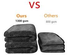 Toalhas de lavagem de carro, 50x50cm 1300gsm para lavagem de carro, microfibra, limpeza de pano, para polimento, de pelúcia, para secagem