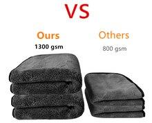 50X50CM 1300GSM araba yıkama havlu mikrofiber yıkama temizlik bezi bakım parlatma peluş yıkama kurutma havlu paçavra