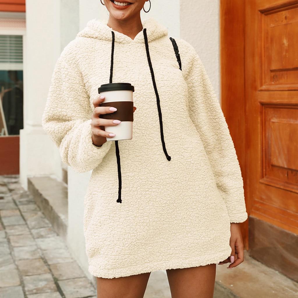 2020 Winter Warm Fluffy Jackets Women's Coats Long Sleeve Female Outwear Autumn Plus Size Solid Hooded Sweatshirt Outerwear #925