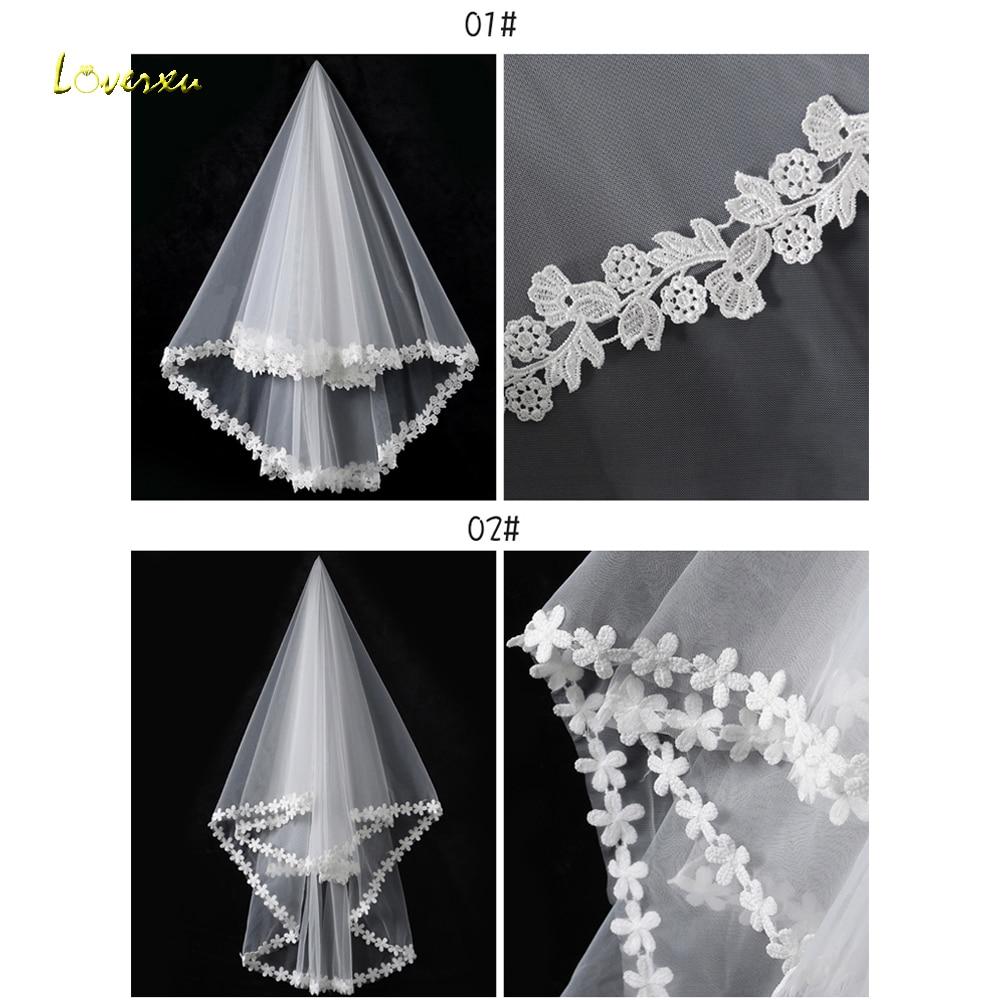 Loverxu Romantic Wedding Accessories Elegant Applique Short Wedding Veil White Ivory Customizable Bridal Veil With Comb Hot Sale