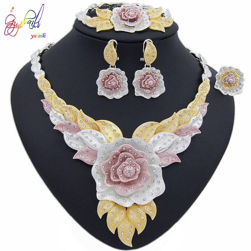 Image 4 - Yulaili New Dubai Jewelry Sets Austria Crystal Tri color Big  Flower Pendant Necklace Earrings Nigeria Wedding African BijouxJewelry  Sets