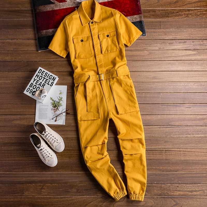 Vintage Heren Overalls Zomer Losse Korte Mouw Satijnen Jumpsuit Mannelijke Streetwear Hip Hop Casual Cargo Broek Jumpsuit Plus Size 5XL