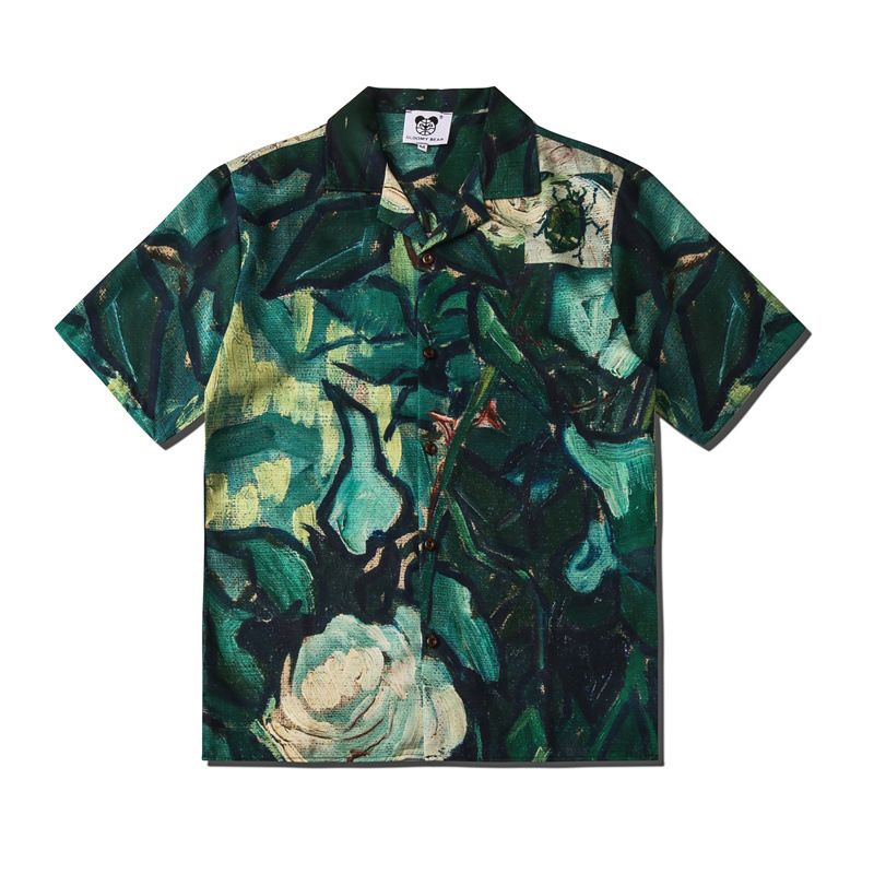 Men's Top Hawaiian Shirt Short Sleeve Men's Green Short Sleeve Beach Shirt Short Sleeve Men's Short Sleeve Shirt Shirts For Men