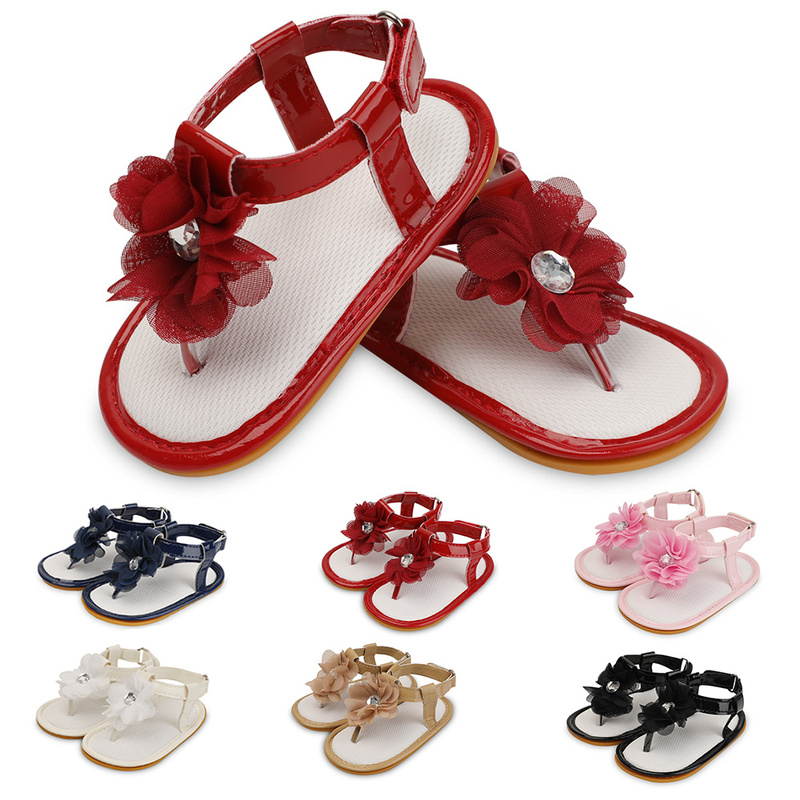 Summer Sandals Baby Girl Shoes Toddler Infant PU Rubber Soft Sole RIband Flower Park Crawl First Walkers Cute Shoes