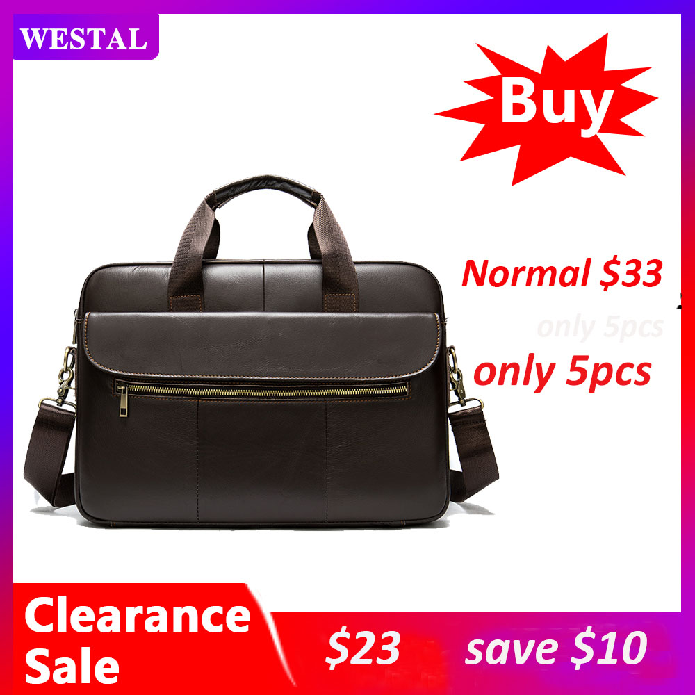 WESTAL Men's Briefcase Leather Laptop Bag Business Lawyer Office Bags For Men Bag Genuine Leather Briefcases For Document  1115