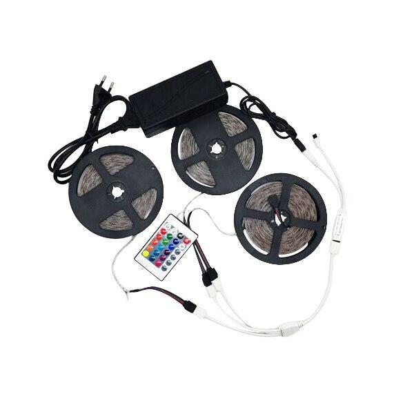 Hc81938f9d6db425c82c2ca5863ab9f7fI LED Strip Light RGB 5050 SMD 2835 Flexible Ribbon fita led light strip RGB 5M 10M 15M Tape Diode DC12V 60LEDs 1M+Control+Adapter