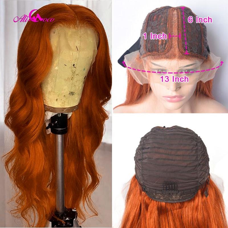 Парик Ali Coco 4x 4/13x6x1 из натуральных бразильских волнистых человеческих волос с глубокой частью, 150% парик из апельсинового имбирного цвета, на ...
