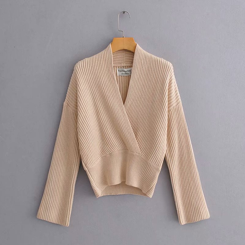 Autumn New Fashion Women V Neck Plain Color Simple Knitted Sweater Ladies Elegant Long Sleeve Comfy Pullover 2020 Ropa Mujer