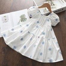 Melario dziewczęce ubrania letnia sukienka z krótkim rękawem bawełna Casual księżniczka sukienki dla dziewczynki dzieci sukienka drukuj kwiat Vestidos