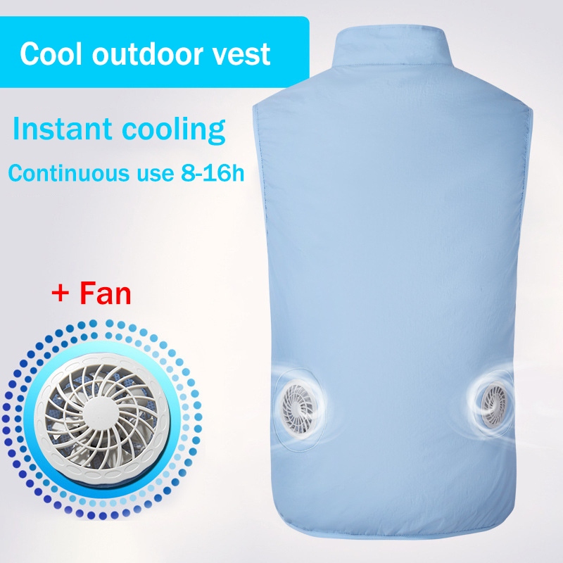 New USB Fan Cooling Hiking Vest Fishing Cycling Vest Air Conditioning Work Outdoors Quick Cooling Vest Summer Cooling Men/womenHiking Vests   -