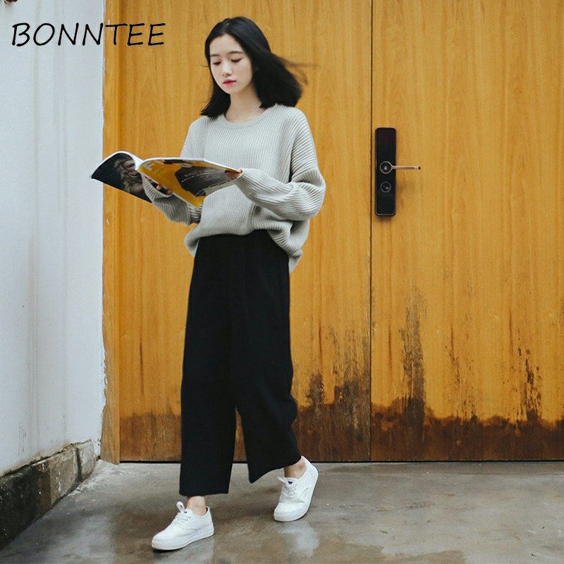 Image 4 - Wide Leg Pants Ulzzang Women Solid High Waist Trousers Pleated Loose Casual Elegant Womens Korean Style Chic School Daily Girls-in Pants & Capris from Women's Clothing