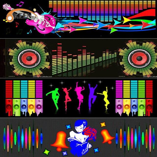 Auto Voorruit Led Equalizer Auto Neon El Licht Muziek Rhythm Flash Lamp Sticker Styling Met Control Box