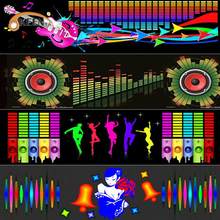 자동차 앞 유리 LED 사운드 활성화 이퀄라이저 자동차 네온 EL 라이트 음악 리듬 플래시 램프 스티커 컨트롤 박스와 스타일링