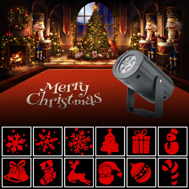 12 Pattern Christmas Led Laser Projector Light Motion Outdoor  Stage Effect Lighting For Home KTV Party Garden Landscape Lamp