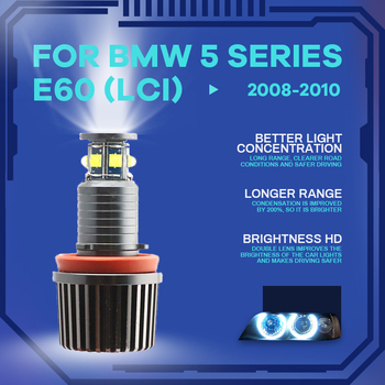 6000K IP65 High Quality 3-year Warranty Daytime light LED Angel Eyes Marker 120W For BMW 5 Series E60 (LCI)2008 2009 2010 image