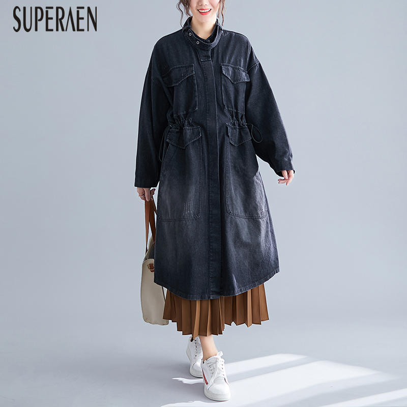 SuperAen Pluz Size Loose Denim   Trench   Coat for Women Wild Casual Autumn New Ladies 2019 Windbreaker Fashion Women Clothing