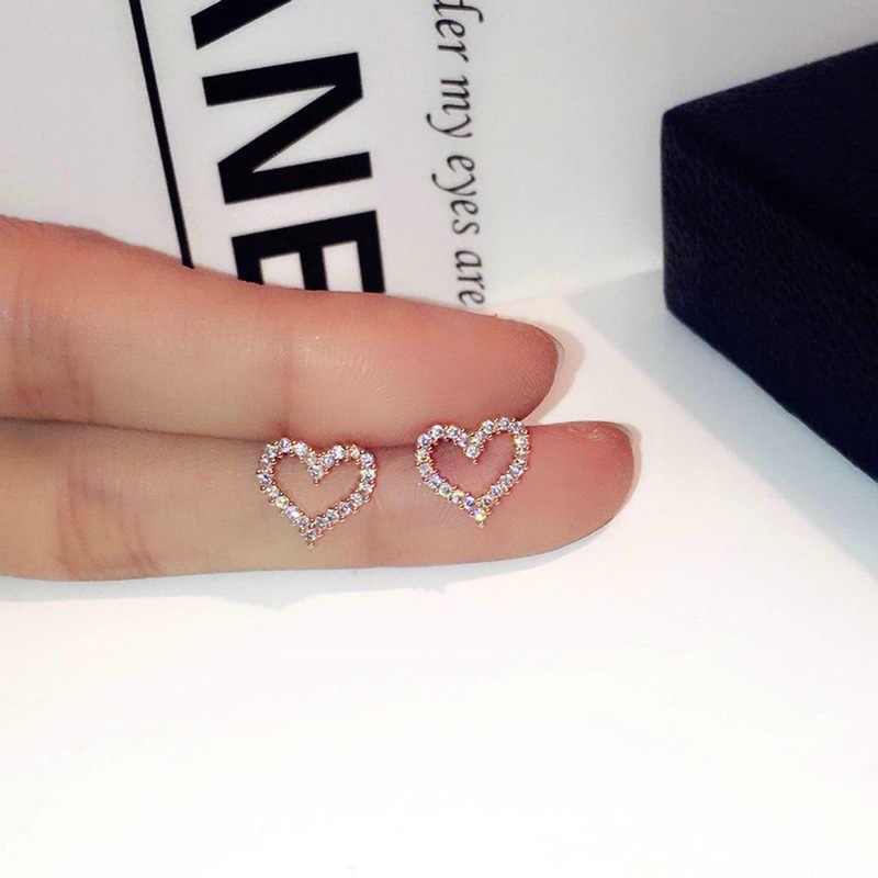 Koreańskie kolczyki 925 srebro serce Bling cyrkon kolczyki z kamykami dla kobiet biżuteria 2019 nowość