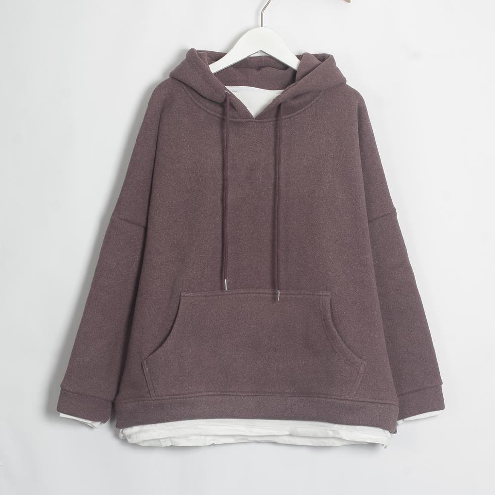 Wixra Women Casual Sweatshirts Warm Velvet Long Sleeve Oversize Hoodies Tops 2019 Autumn Winter Pullover Tops 15