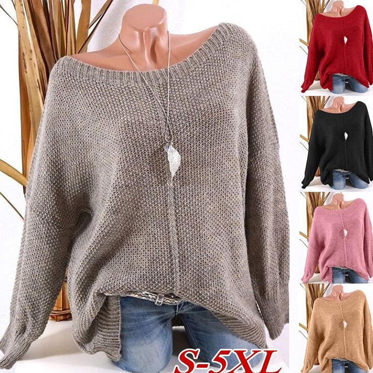 2019 Fashion Warm Pullover Women Autumn Winter Knit Long Sleeve Solid Colors Sweater Casual Loose Female Sweaters Plus Size Top