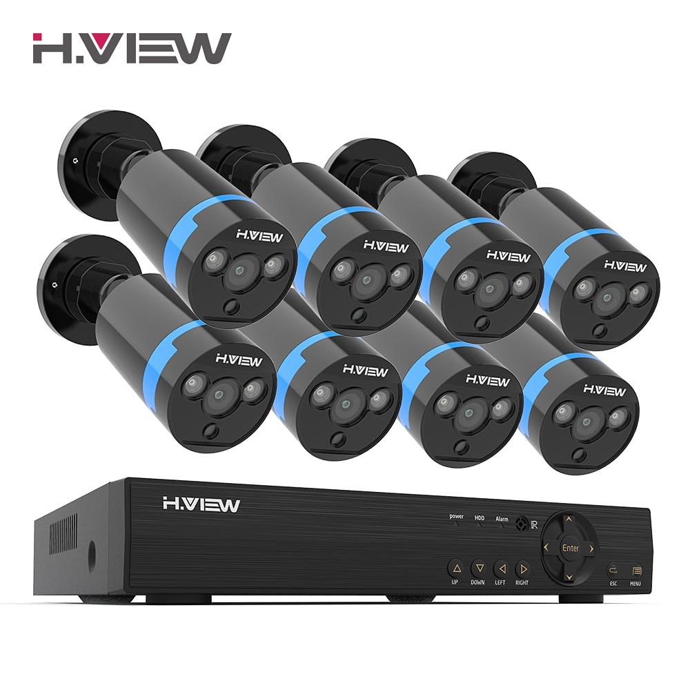 H.View Security Camera System 8ch Video Surveillance Kit 8 Pcs 1080P CCTV Camera 2.0MP Outdoor Video Surveillance Street