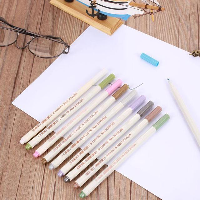 Marqueur métallique stylo école étudiant calligraphie croquis dessin modèle 6551 10 couleurs coloré lisse Art marqueur stylo écriture