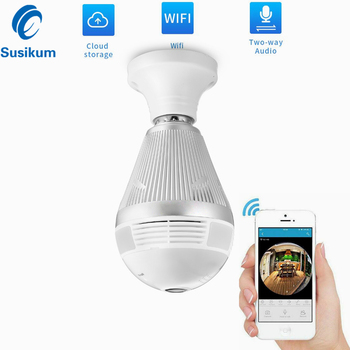 3MP Wifi Panoramic 360 Degree Camera Wireless Light Bulb Fisheye Camera CCTV Smart Home 3D VR Security Bulb Camera ICSEE APP 360 degree panoramic ip camera fisheye wifi cctv cam ptz 3d vr video p2p 720p audio for home ofiice security remotely mon