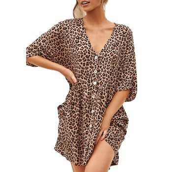 40# 2021 Sexy Womens Fashion Ladies Open Leopard Splice Print Button Casual Dress Plus Size Dress(S-5XL) image