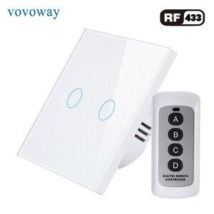 Image 3 - Vovoway EU touch schalter licht schalter RF Wireless fernbedienung 1s 2s 3Gang AC110V 220V Wand post touch installation