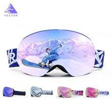 Aimants OTG lunettes de Ski UV400 Snowboard lunettes de neige Anti-buée interchangeables dans la lentille et le cadre sphérique lunettes de soleil à large vue