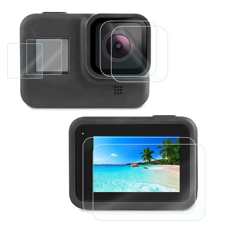 Tempered Glass Protective Film For GoPro Hero 8 7 6 5 Hero Black Screen Protective Camera Lens Cover Cap For Go Pro Accessories