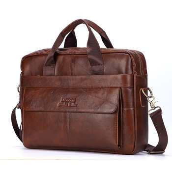 Men Genuine Leather Handbag Fashion Office 14 inch Laptop Briefcase Bag Male Computer Shoulder Bags Men's Business Document Bag hongyandaishu men business briefcase genuine leather casual computer laptop handbag bag fashion men s travel bags maletin hombre