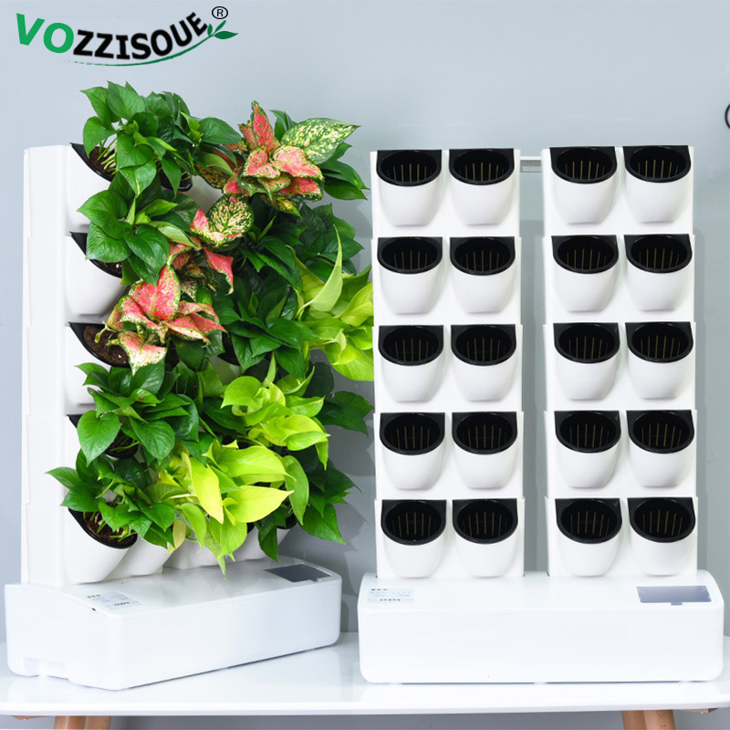 New Indoor Garden Self Watering Pot Autowatering Smart Plant Pot Vertical Flower Pot Wall Plastic Garden Pots Hydroponic Systems