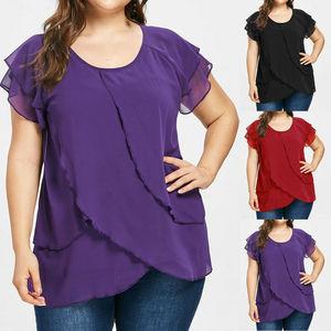 Women Chiffon Layered Casual Short Sleeve Plus Size Solid Ruffles Blouse Top