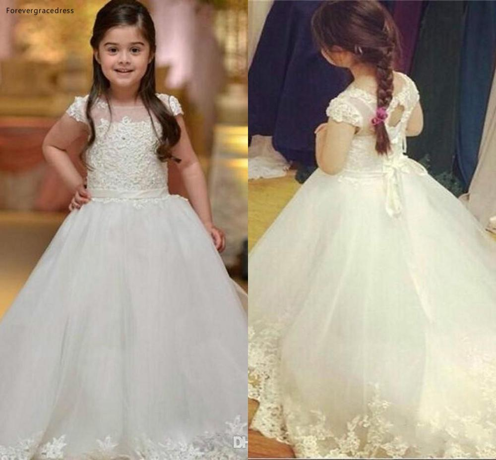 2019 Princess Cheap Lovely Cute Sheer Neck Long Lace   Flower     Girl     Dresses   Daughter Toddler Pretty Kids Pageant First Holy Gowns