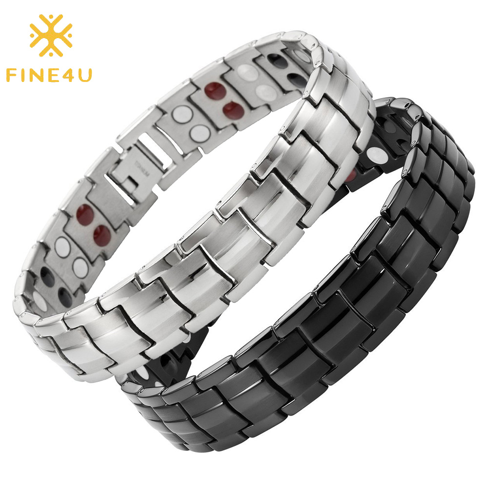 Mens Titanium Bracelet Double Row 4 Element