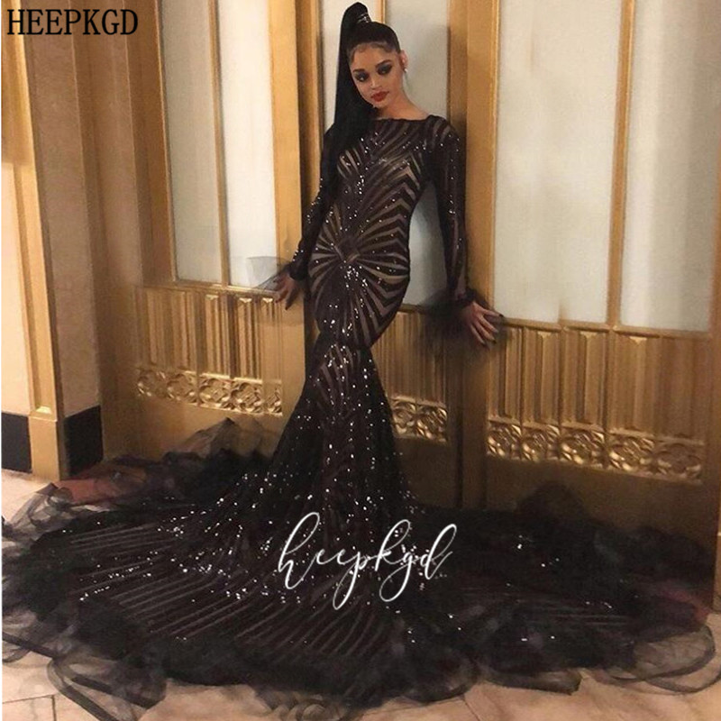 Sparkly Black Mermaid Sequins Evening Dress New Design Long Sleeves Customize Black Girls Graduation Dresses Plus Size Prom Gown