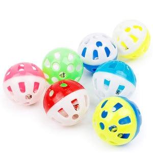 Elenxs, 10 Uds., bola de plástico hueca, juguete para perros pequeños, campana colorida de sonido redondo, juguete para mascotas de Color aleatorio