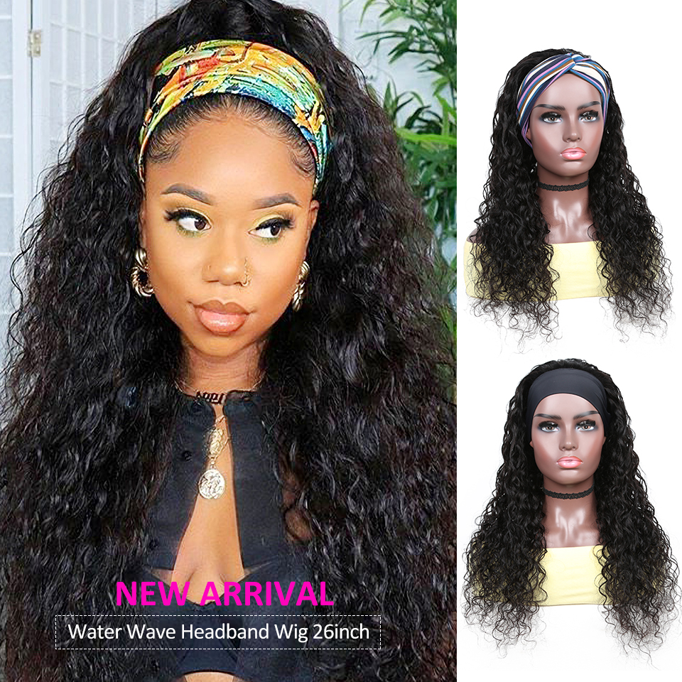 YYongHair  Headband Wig With Scarf 100%   Water Wave  Wig Glueless Wig for Women 8-24inch 2