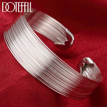 DOTEFFIL 925 Sterling Silver Multi-Line Bracelets Bangle For Women Fashion Jewelry High Quality Gift Free shipping