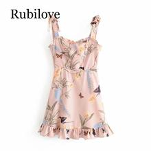 Rubilove Sexy Sling Summer Dress 2019 Women Bow Tie Shoulder Vintage Print Ruffle Dress Lady Sleeveless Boho Beach A-line Mini D tie dye sleeveless a line mini dress