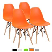 Modern Minimalist Dining Room Chair, Orange Shell Lounge Plastic Chair Kitchen,Dining, Bedroom,Study,Living Room Chairs 4 Pcs цена и фото