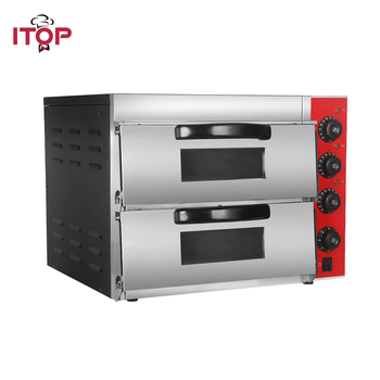 ITOP Commercial Double Pizza Oven 3000W Stainless Steel 50~350 Degree Baking Oven Stone stainless steel electric pizza oven cake roasted chicken pizza cooker commercial use kitchen baking machine