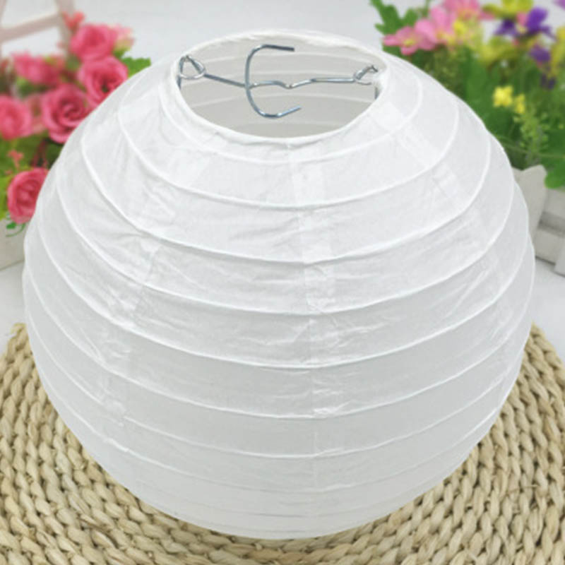 White Birthday Party Accessories Nursery School Supplies Round Children Painting Chinese Paper Lantern DIY Lantern Lampshade